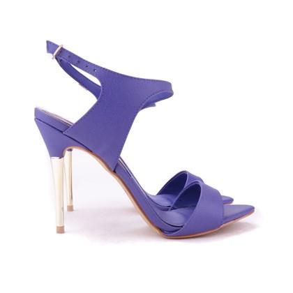Sandália Salto Fino Dourado de Festa Violeta