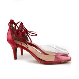 Sandalia Salto Fino Vermelho