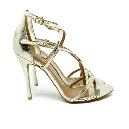 Sandalia Salto Luxe Ouro