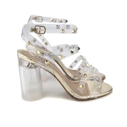 Sandália Salto Quadrado Cristal com Transparência e Spikes Dourado