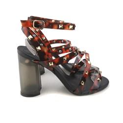 Sandália Salto Quadrado Cristal com Transparência e Spikes Preto