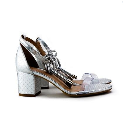 Sandalia Salto Quadrado Prata
