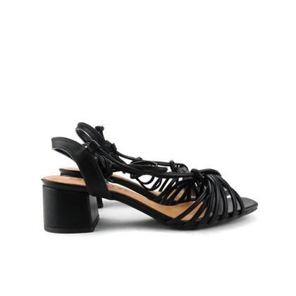Sandalia Salto Quadrado Preto