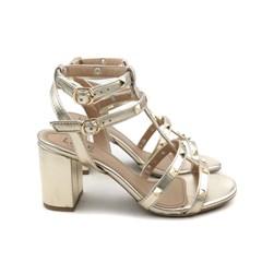 Sandália Salto Quadrado Tiras com Spikes e Fivela Ouro Light