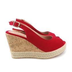Sandália Sapato Feminina Anabela Peep Toe Corda Verão Vermelho