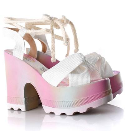 Sandalia Tratorada Luxe Branco/Colorido