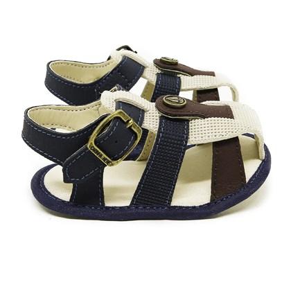 Sandalinha Infantil Menino Sapatinho Recém Nascido Moda Bebe Marinho