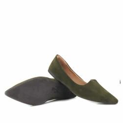 Sapatilha Feminina Bico Fino Verde Militar