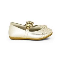 Sapatilha Infantil Boneca Dourada Com Florzinha Moda Menina Ouro Light
