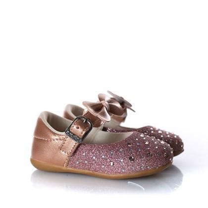 Sapatilha Infantil Com Glitter E Laço Bronze