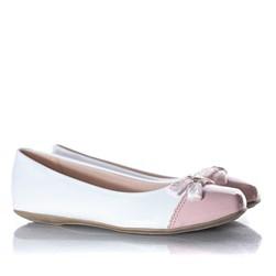 Sapatilha Infantil Feminina Bicolor Com Laço Moda Menina Branco/Rosa