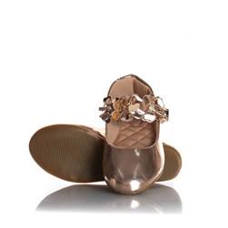 Sapatilha Infantil Menina com Flores e Fivela Bronze
