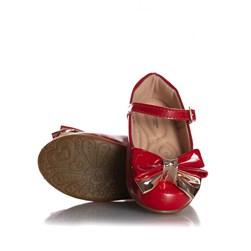 Sapatilha Infantil Menina com Laço Glitter e Fivela Vermelho