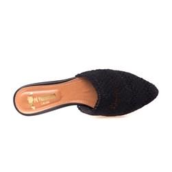 Sapatilha Mule Feminina Crochê Super Confortável  Preto