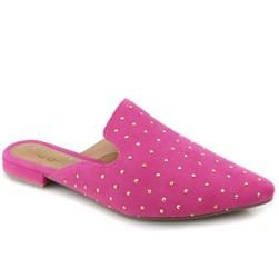 Sapatilha Mule Feminino Suede com Aplicação Pink