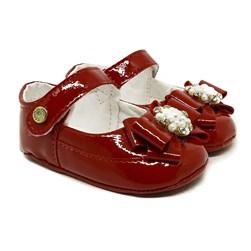 Sapatinho Bebe Menina Sapatilha Recém Nascido Pérolas  Vermelho