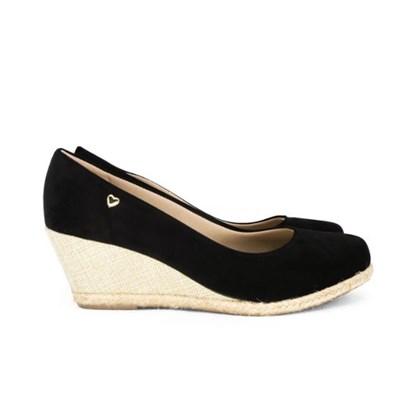 Sapato Anabela Com Corda Preto Nobuck