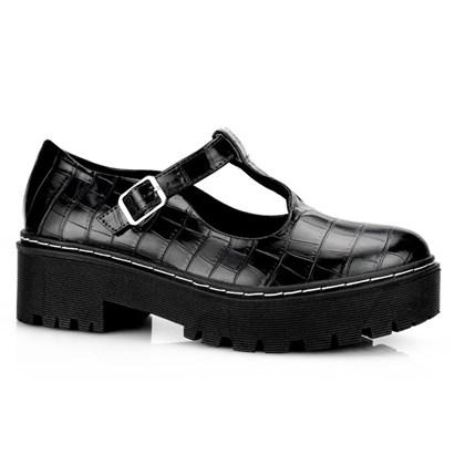Sapato Boneca Feminino Croco Salto Quadrado Preto Croco