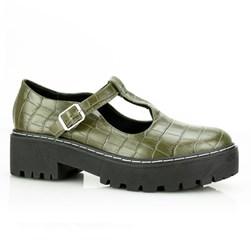 Sapato Boneca Feminino Croco Salto Quadrado Verde Militar