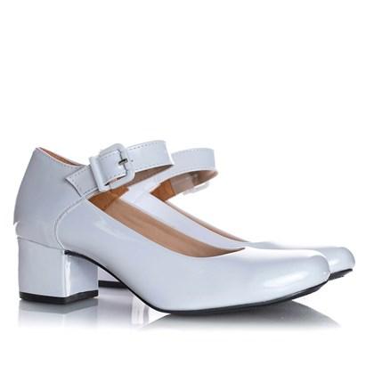 Sapato Feminino Boneca Brenna Salto Baixo Branco Verniz