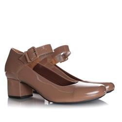 Sapato Feminino Boneca Brenna Salto Baixo Nude Verniz