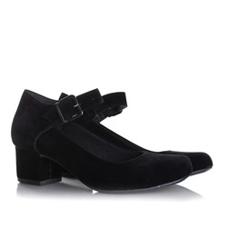 Sapato Feminino Boneca Brenna Salto Baixo Preto Nobuck