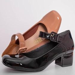 Sapato Feminino Boneca Brenna Salto Baixo Preto Verniz