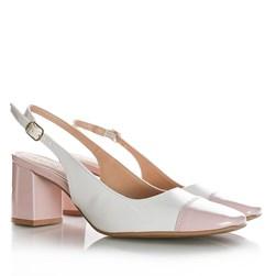 Sapato Feminino Carol com Salto Bloco e Fivela Branco/Quartzo