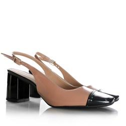 Sapato Feminino Carol com Salto Bloco e Fivela Nude/Preto