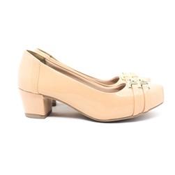 Sapato Feminino Confortável Salto Baixo Grosso Lançamento Nude