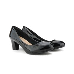 Sapato Feminino Confortável Salto Baixo Grosso Lançamento Preto