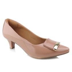 Sapato Feminino Scarpin Bico Fino e Salto Baixo com Fivela Nude Verniz
