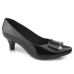 Sapato Feminino Scarpin Bico Fino e Salto Baixo com Fivela Preto Verniz