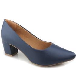 Sapato Feminino Scarpin Social Salto Baixo Grosso Marinho