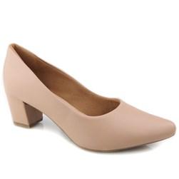 Sapato Feminino Scarpin Social Salto Baixo Grosso Nude Napa