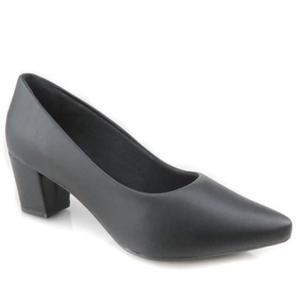 Sapato Feminino Scarpin Social Salto Baixo Grosso Preto Napa
