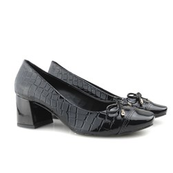Sapato Feminino Scarpin Social Salto Baixo Grosso  Preto Verniz