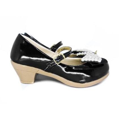 Sapato Infantil Com Saltinho Sapatilha Boneca Menina Preto