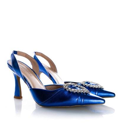 Sapato Scarpin Bella Salto Taça com Broche de Coração Azul