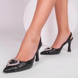 Sapato Scarpin Bella Salto Taça com Broche de Coração Preto