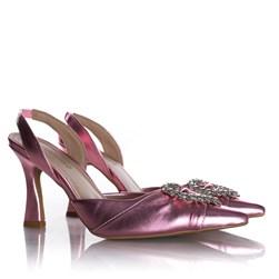 Sapato Scarpin Bella Salto Taça com Broche de Coração Rosa