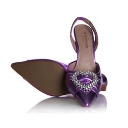 Sapato Scarpin Bella Salto Taça com Broche de Coração Roxo