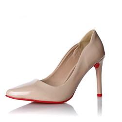 Sapato Scarpin Camila Verniz com Sola Vermelha Nude