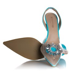 Sapato Scarpin Cinderela Salto Fino com Vinil Azul Claro