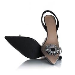 Sapato Scarpin Cinderela Salto Fino com Vinil Preto