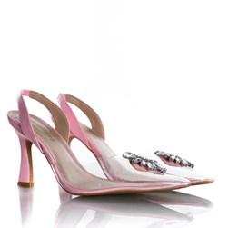 Sapato Scarpin Cinderela Salto Fino com Vinil Rosa
