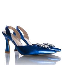Sapato Scarpin Cinderela Salto Fino Metalizado Azul