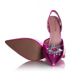 Sapato Scarpin Cinderela Salto Fino Metalizado Pink