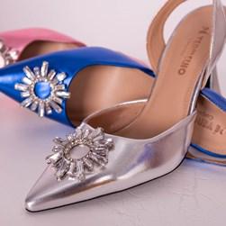 Sapato Scarpin Cinderela Salto Fino Metalizado Prata