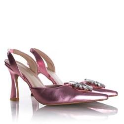 Sapato Scarpin Cinderela Salto Fino Metalizado Rosa Perola